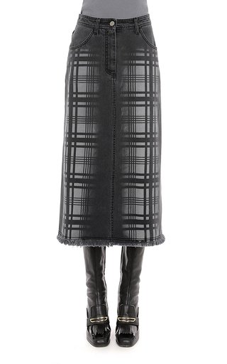 Hand Treated Tartan Printed Denim Midi Skirt