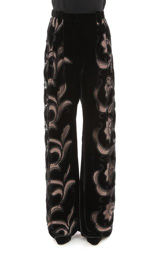 Embroidered Velvet Trousers