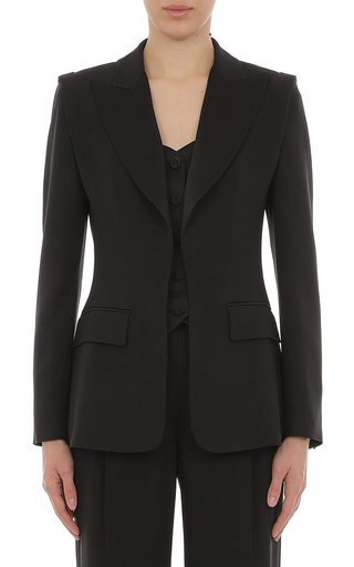 Enver Satin Blazer With Inset Vest
