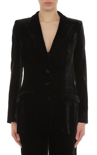 Viscose Silk Velvet Single Breasted Blazer