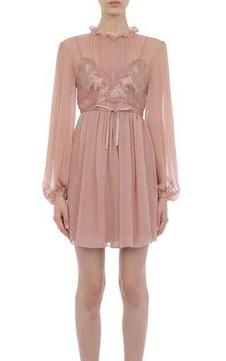 Chiffon L/S Mini Dress With Silk Satin Inset Corset Bra