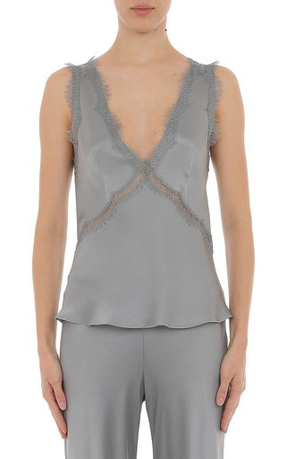 Silk Satin V-Neck Camisole With Inset Lace