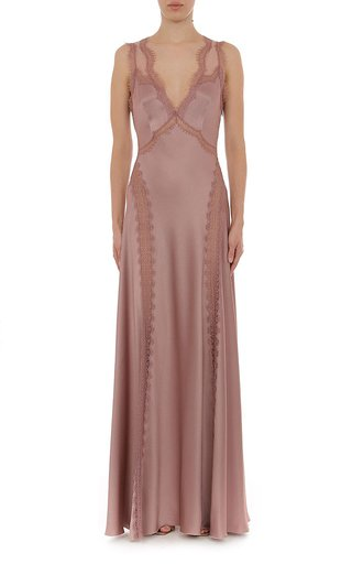 Satin Sleeveless V Neck Gown With Lace Trim