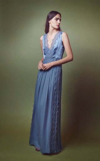 Satin Sleeveless V Neck Gown With Lace Inset