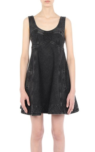 Athleisure Capsule Denim A-Line Sleeveless Mini Dress