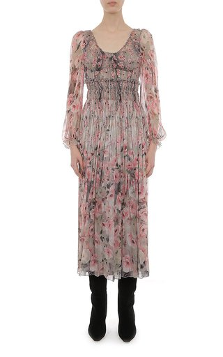 Floral Printed Creponne Corseted L/S Dress