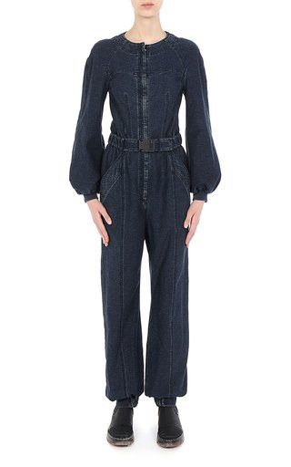 Athleisure Capsule Indigo Full Needle Stitch L/S Jumpsuit With Buckle