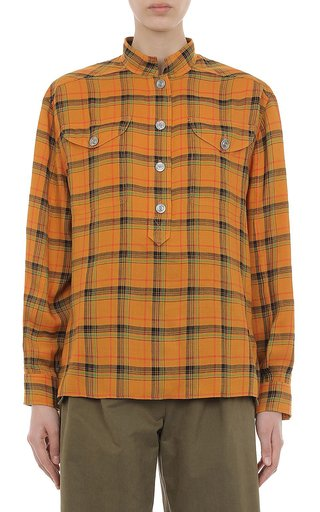 Tartan Tencel Half-Button Shirt