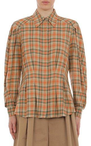 Tartan Flannel Blouse With Gathered Waist