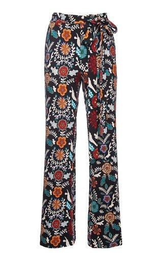 Printed Slit Crepe Pants