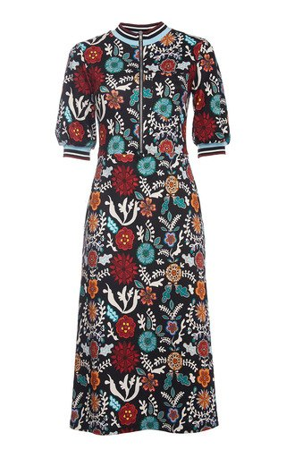 Printed Fitted Crepe Dress
