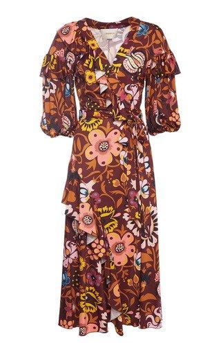 Printed Satin Wrap Dress