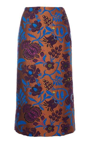 Printed Jacquard Pencil Skirt
