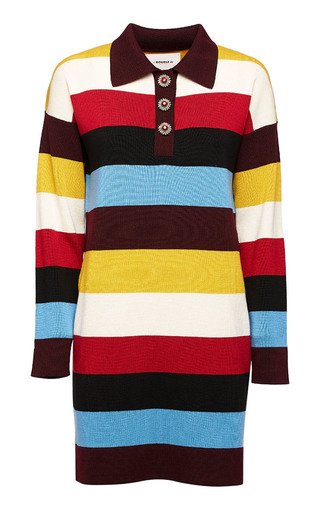 Striped Merino Wool Polo Dress