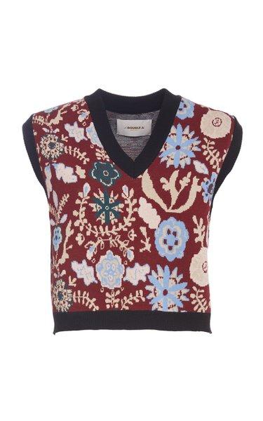 Printed Boxy Knit Sweater Vest