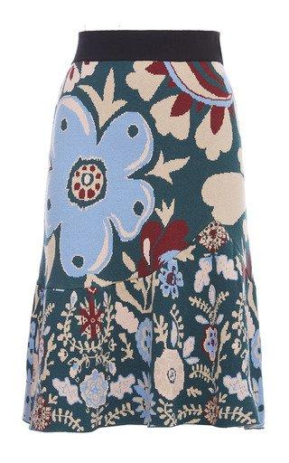 Printed Ruffled Knit Skirt