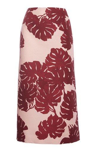 Printed Wool-Blend Pencil Skirt