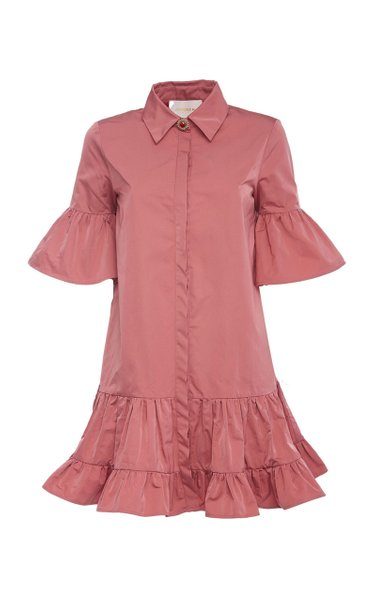 Choux Collared Ruffled Crepe De Chine Dress
