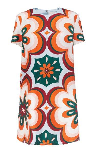 Printed Silk Mini Swing Dress