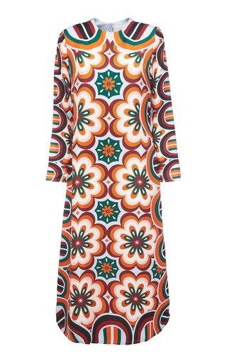 Printed Silk Midi Swing Dress