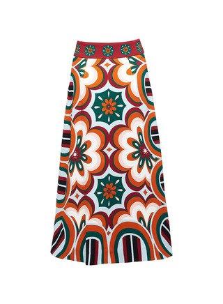 Santa Monica Printed Crepe De Chine Skirt