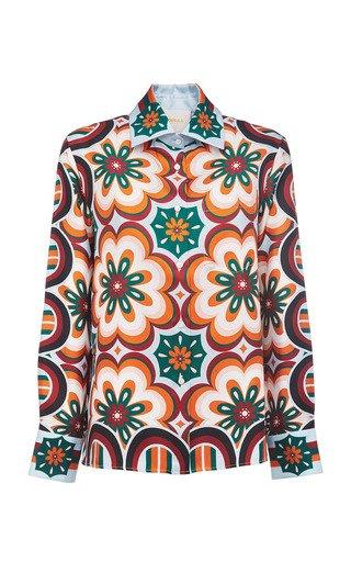 Printed Collared Silk Shirt