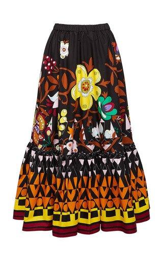 Sunset Printed Cotton Skirt