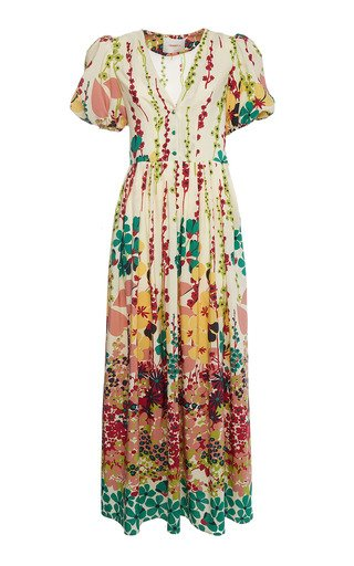 Persephone Puff-Sleeve Silk Maxi Dress
