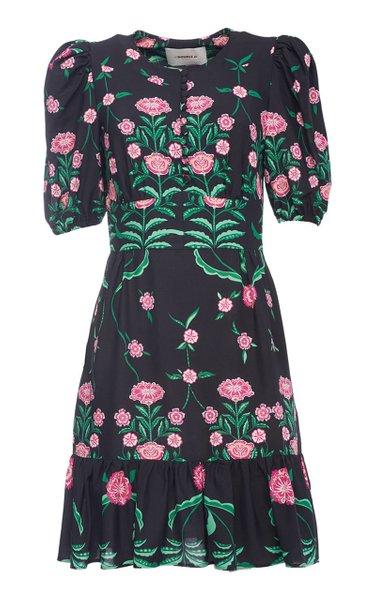 Coquette Printed Ruffled Crepe Dress