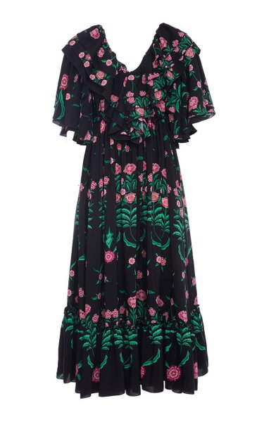 Birthday Printed Pleated Crepe Dress