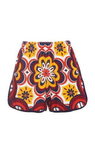 Printed Cotton-Blend Terry Shorts