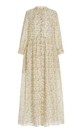 Exclusive Floral Cotton Voile Maxi Shirt Dress