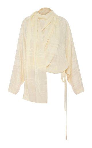 Draped Tie-Detail Cupro Shirt