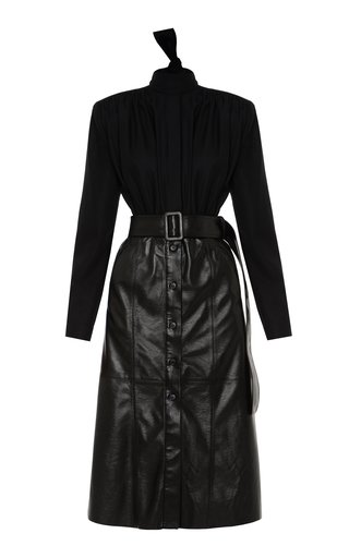 Belted Wool-Blend Dress