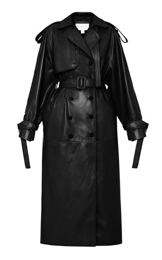 Collarered Faux-Leather Trench Coat