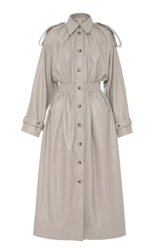 Collared Faux-Leather Shirt Dress