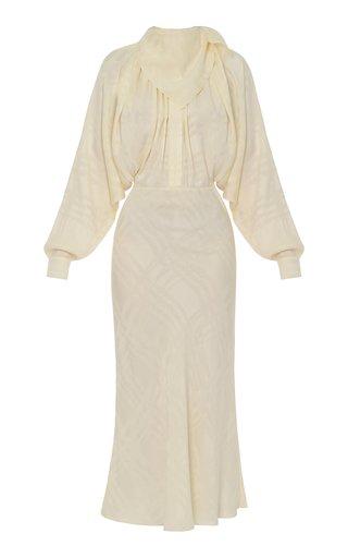 Draped Cupro Midi Dress