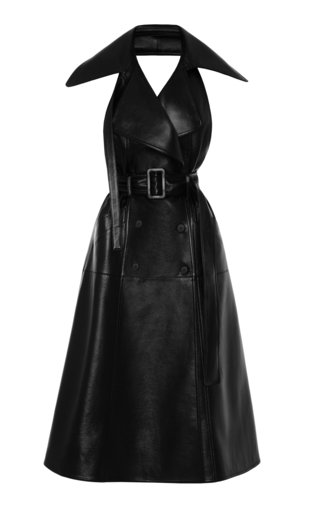 Oversized Collared Faux Leather Dress