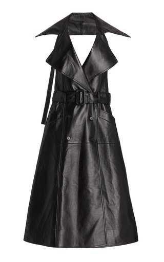 Open-Back Faux Leather Midi Trench Dress
