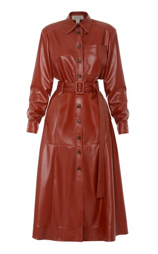 Collared Belted Faux-Leather Dress