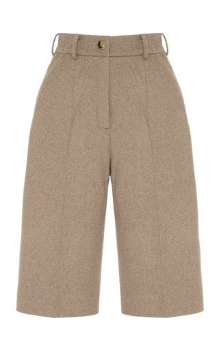 High-Waisted Wool-Blend Shorts