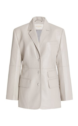 Structured Faux Leather Blazer