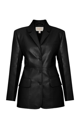 Structured Faux-Leather Blazer