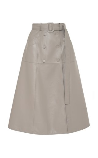 A-Line Faux Leather Midi Skirt