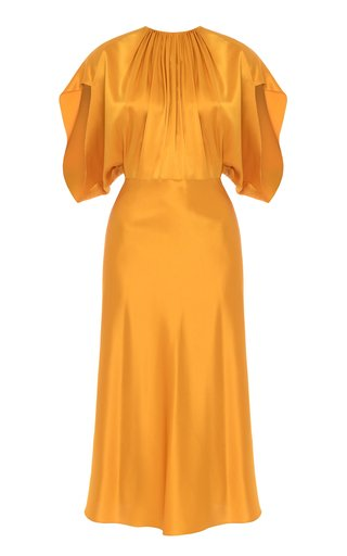 Draped Satin-Blend Dress
