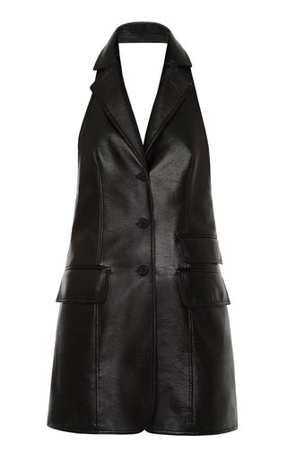 Collared Faux-Leather Vest