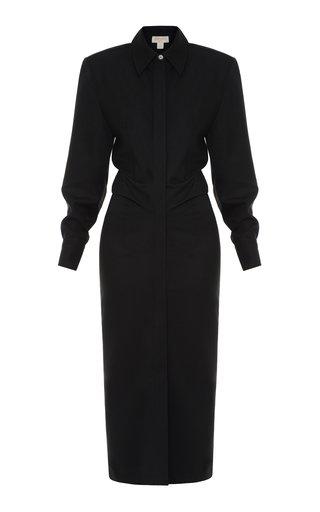 Collared Virgin Wool Midi Dress