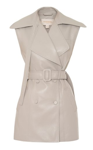 Collared Faux-Leather Double-Breasted Vest
