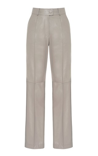 Pleated Faux-Leather Pants