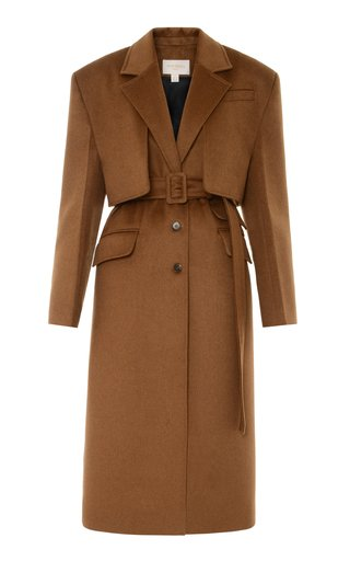 Collared Wool-Blend Trench Coat